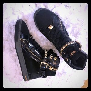 Michael Kors black and gold sneakers